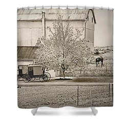 Shower Curtain featuring the photograph An Amish Farm In Sepia by Dyle   Warren