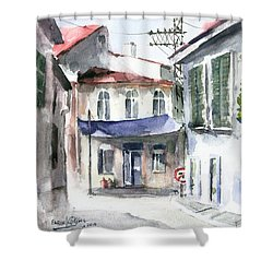 Shower Curtain featuring the painting An Authentic Street In Urla - Izmir by Faruk Koksal
