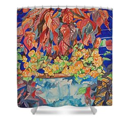 An Autumn Floral Shower Curtain by Esther Newman-Cohen