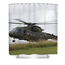 An Aw101 Merlin Helicopter Of The Royal Shower Curtain by Ofer Zidon