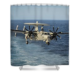 An E-2c Hawkeye Prepares To Land Shower Curtain by Stocktrek Images