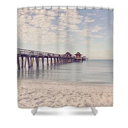 An Early Morning - Naples Pier Shower Curtain by Kim Hojnacki