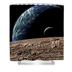 An Earth-like Planet In Deep Space Shower Curtain by Marc Ward