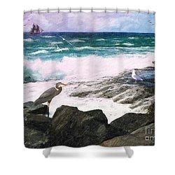 Shower Curtain featuring the digital art An Egret's View Seascape by Lianne Schneider