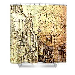 An English Fishing Village Shower Curtain