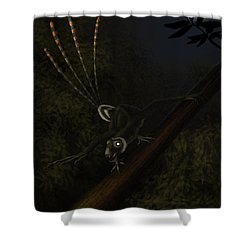 An Epidexipteryx Reacts Aggressively Shower Curtain by Alvaro Rozalen