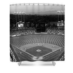 An Evening Game At Dodger Stadium Shower Curtain