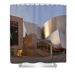 Shower Curtain featuring the photograph An Evening With Gustavo - Walt Disney Concert Hall Architecture Los Angeles by Ram Vasudev