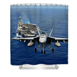Shower Curtain featuring the photograph An Fa-18 Hornet Demonstrates Air Power. by Paul Fearn