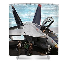 An Fa-18f Super Hornet Sits Shower Curtain by Stocktrek Images