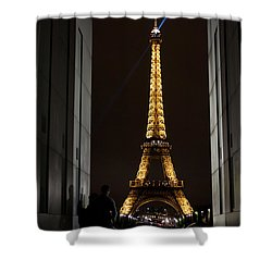 An Intimate Moment With Eiffel Shower Curtain by John Daly