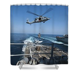 An Mh-60s Sea Hawk Brings Pallets Shower Curtain by Stocktrek Images