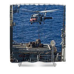 An Mh-60s Sea Hawk Delivers Supplies Shower Curtain by Stocktrek Images