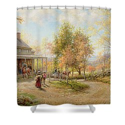 An October Day Shower Curtain by Edward Lamson Henry