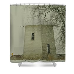 An Old Bin In The Snow Shower Curtain by Jeff Swan