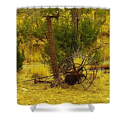 An Old Grass Cutter In Lincoln City New Mexico Shower Curtain by Jeff Swan