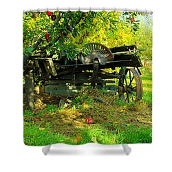 An Old Harvest Wagon Shower Curtain by Jeff Swan