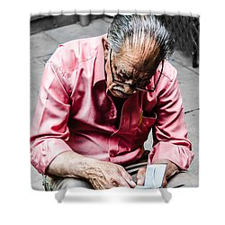An Old Man Reading His Book Shower Curtain by Sotiris Filippou