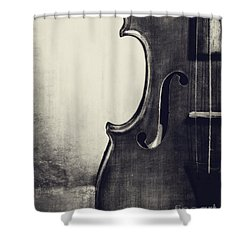 An Old Violin In Black And White Shower Curtain