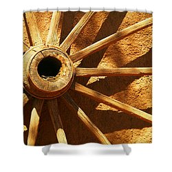 An Old Wagon Wheel In Carillos New Mexico Shower Curtain by Jeff Swan