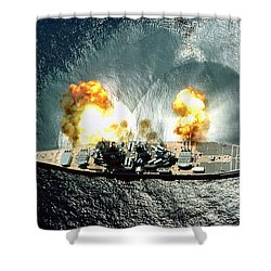 An Overhead View Of The Battleship Uss Iowa Bb61 Firing All 15 Of Its Guns Shower Curtain