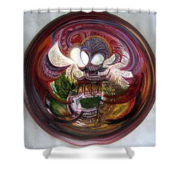 Shower Curtain featuring the painting Anamorphic Chinese Pagoda by LaVonne Hand