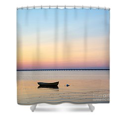 Shower Curtain featuring the photograph Anchored At Sunset by Kennerth and Birgitta Kullman
