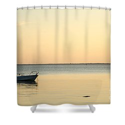 Shower Curtain featuring the photograph Anchored  by Kennerth and Birgitta Kullman