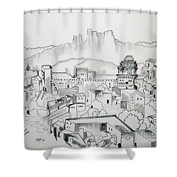 Shower Curtain featuring the drawing Ancient City In Pen And Ink by Janice Rae Pariza