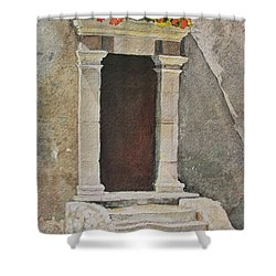 Shower Curtain featuring the painting Ancient  Doorway  by Mary Ellen Mueller Legault