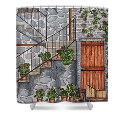 Ancient Grey Stone Residence Shower Curtain