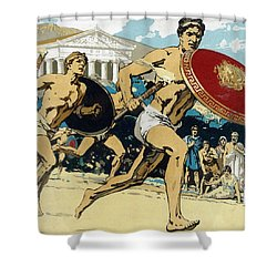 Ancient Olympic Games  The Relay Race Shower Curtain by Unknown