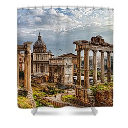Ancient Roman Forum Ruins - Impressions Of Rome Shower Curtain