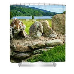 Ancient Stone Wall At Loch Achray Shower Curtain