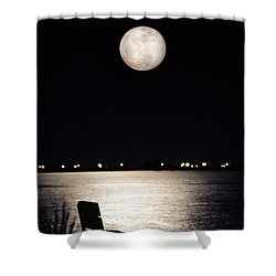 And No One Was There - To See The Full Moon Over The Bay Shower Curtain