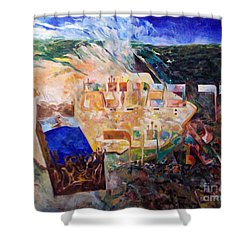 And The Angel Of Hashem Smote In The Camp Of Ashshur Shower Curtain by David Baruch Wolk