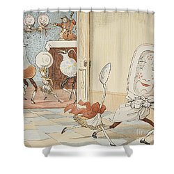 And The Dish Ran Away With The Spoon Shower Curtain by Randolph Caldecott