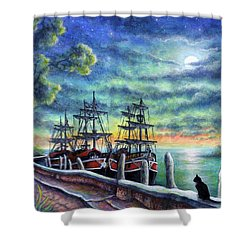 Shower Curtain featuring the painting And We Shall Sail My Love And I by Retta Stephenson