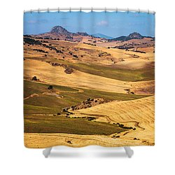Andalusian Patchwork Fields I. Spain Shower Curtain by Jenny Rainbow