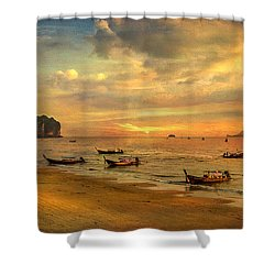 Andaman Sunset Shower Curtain by Adrian Evans