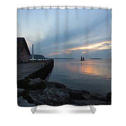 Anderson Dock Sunset Shower Curtain