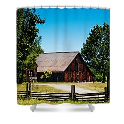 Anderson Valley Barn Shower Curtain by Bill Gallagher