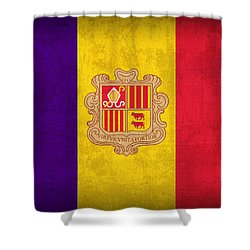 Andorra Flag Vintage Distressed Finish Shower Curtain by Design Turnpike