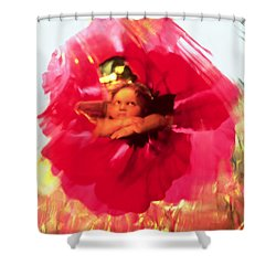 Angel And Poppy Shower Curtain by Katherine Fawssett