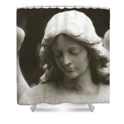 Angel Art - Ethereal Dreamy Angel Guardian Angel - Face Of An Angel Shower Curtain by Kathy Fornal