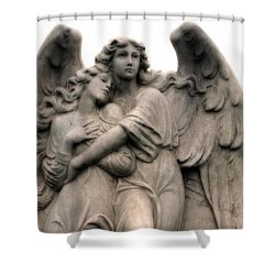 Angel Photography Guardian Angels Loving Embrace Shower Curtain by Kathy Fornal