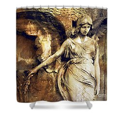 Angel Art - Surreal Gothic Angel Art Photography Dark Sepia Golden Impressionistic Angel Art Shower Curtain by Kathy Fornal