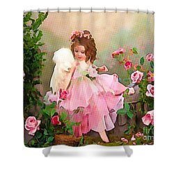 Angel And Baby  Shower Curtain by Catherine Lott