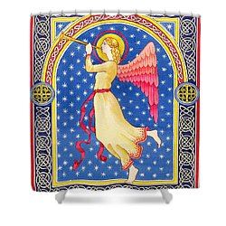 Angel Blowing Trumper Shower Curtain by Lavinia Hamer