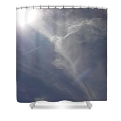Angel Holding Light Shower Curtain